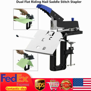 Manual Dual Flat Nail Saddle Stapler Binding Stitching Machine With Staples Us