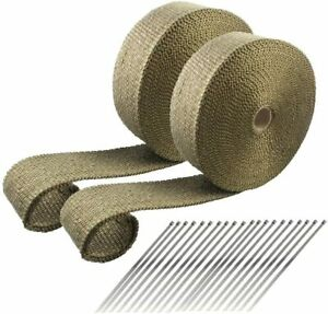 2 Rolls Titanium Exhaust Header Thermal Heat Wrap 2 x 50 Each With Zip Ties