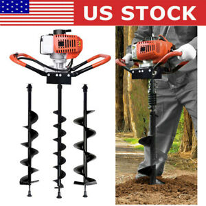 52cc 1 9kw Earth Auger Ground Drill Fence Post Hole Borer 3 Drills Extension