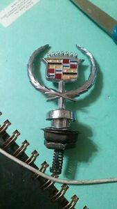 Vtg Cadillac Hood Ornament Sedan Deville 80s Emblem W Base Oem Chrome Nice