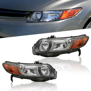 Pair Front Headlights Lamps Assembly For 2006 2011 Honda Civic Coupe 2 Dr