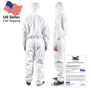 Ppe Full Protective Suit With Hood Reusable Zippered Coveralls Isolation Washab
