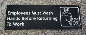 Employees Must Wash Hands Sticker Sign Vinyl 9x3 Inch Made In Usa Not Corporate
