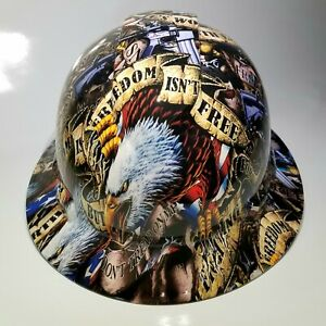 New Full Brim Hard Hat Custom Hydro Dipped Freedom Isn t Free Usa America Sick
