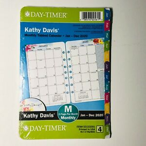 2020 Day timer Kathy Davis Tabbed Monthly Planner 8 5x5 5 Refill Size 4