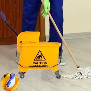 Commercial Mop Bucket Side Press Wringer On Wheels Cleaning 20l Yellow