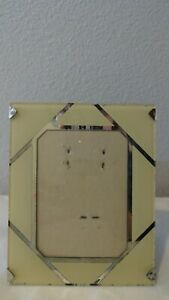 Reverse Painted Art Deco Picture Frame 4 X 5 Cream Silver