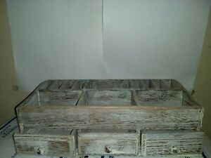 Comfify Rustic Wood 3 Drawer Desk Organizer Makeup Home Office Storage