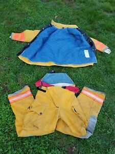 Vtg 1990s Globe Firefighters Turnout Suit High Visibility Extreme Hot Cold L xl