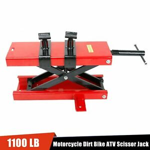Wide Deck Motorcycle Center Scissor Lift Jack Hoist Stand Bikes Atv 1100lbs