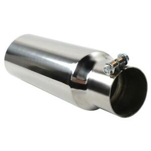 Polished Stainless Steel Exhaust Tip Angle Cut 2 5 Id 3 0 Outlet 12 Long