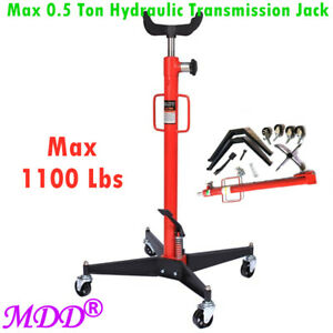 1100 Lbs Hydraulic Transmission Jack High Lift Foot Pump Spring Loaded Red Usa