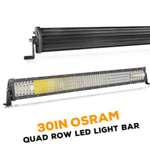 30 Inch Quad row Led Work Light Bar Combo Offroad Driving Lamp Truck Atv 6000k