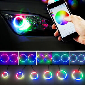 Pair Of 120mm Led Headlight Multi color Chasing Halo Rings Lights Bluetooth Ctrl