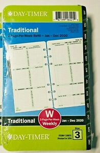 Day timer 2020 Refill Size 3 Traditional Weekly Appointment Planner 3 75 x6 75