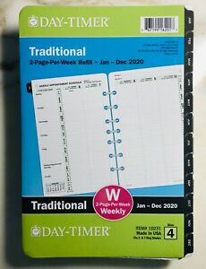 2020 Day timer Traditional 2 page per week Refill 4 Appointment Planner