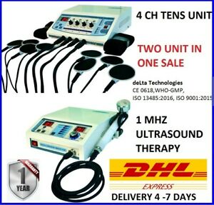 Electrotherapy 4 Channel Ultrasound Therapy 1 Mhz Physical Therapy Machine Combo