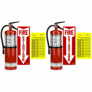 2 10lb Buckeye Abc Fire Extinguisher W wall Hooks Signs And Inspection Tags