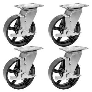 4 Pack 5 Vintage Caster Wheels Swivel Plate Black Iron Casters With Brake