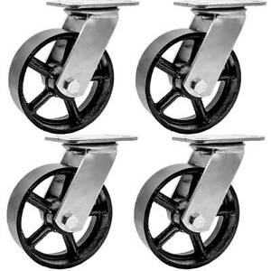 4 Pack 6 Vintage Caster Wheels Swivel Plate Black Iron Casters No Brake