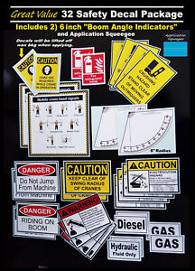 32 Decals Stickers Boom Bucket Truck Crane Safety Hand Signals Angle Indicator