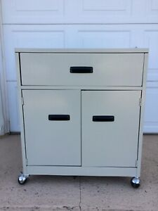 Metal Office Cabinet Printer Stand On Wheels Rollers Local Pick Up No Shipping