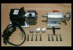 Cnc Router Rotational Rotary Axis A 4th axis 3 jaw Tailstock Nema34 steel Frame