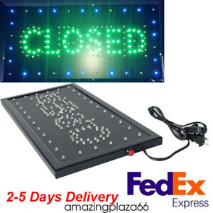 2 in 1 Led Open closed Store Restaurant Business Open Lighted Sign 9x20 Neon Us