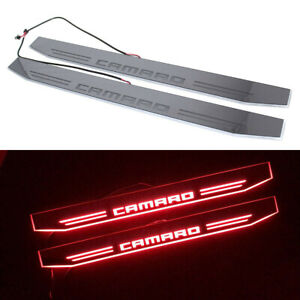 2pcs Red Led Dynamic Camaro Car Door Pedal Lights For Chevrolet Rs Ss Zl1
