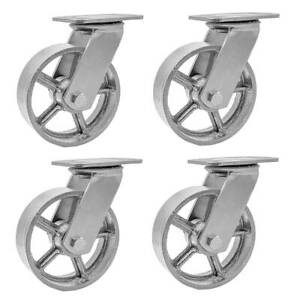4 Pack 5 Vintage Caster Wheels Swivel Plate Grey Silver Iron Casters No Brake