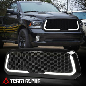 Fits 2013 2020 Ram 1500 honeycomb Mesh Led Drl Glossy Black Bumper Vent Grille