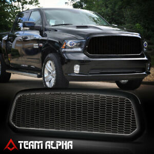 Fits 2013 2020 Ram 1500 hex Honeycomb Mesh glossy Black Abs Bumper Grille Grill