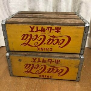 USED FS antique Coca-Cola wooden box  set of 2   interior tracking from Japan