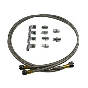 Gm Ford Chevy Braided Flexible Stainless Steel Transmission Cooler Hose Line Kit