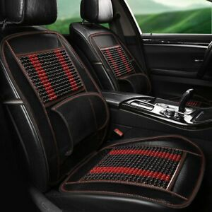 Universal Car Seat Cover Natural Massage Wooden Beads Car Driver Seat Cushion Us