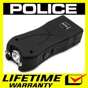 Police Stun Gun Flashlight Mini 398 500 Bv Self Defense Rechargeable Black