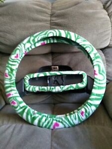 Green Zebra Stripes With Pink Hearts Fleece Steering Wheel Cover Set
