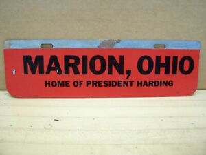 Vintage 1920 S Automobile Car Marion Ohio President Harding License Plate Topper