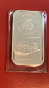 Coca Cola 75th Anniversary *CAMPBELLSVILLE  KY* .999 Silver Bar