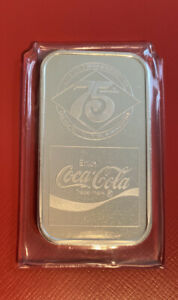 Coca-Cola 75th Anniversary *ELIZABETHTOWN  KY* .999 Silver Art Bar