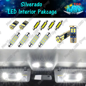 White Led Interior Lights Package Kit For 2007 2013 Chevy Silverado 1500 2500