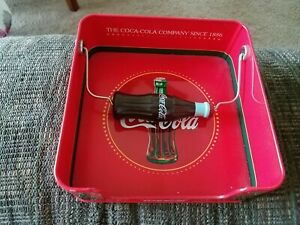 Coca Cola Napkin Dispenser Holder Tin New with Coke Bottle Handle 6.5