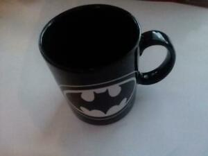 Batman Coffee Mug w/ Logo Black Looks New RARE Very Nice