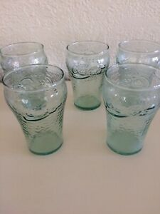 Coca Cola Vintage Child Size Green Dimple Pebble Collector Coke Glasses Set Of 5