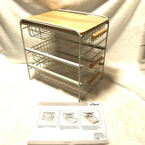 Origami 3 drawer Countertop desktop Steel Organizer White W Blonde Wooden Shelf