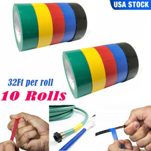 10 Rolls Insulating Pvc Electrical Tape Wire 5 Color 32ft Length 0 7 Wide Set