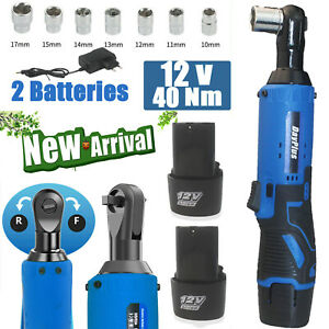 3 8 12v Cordless Electric Ratchet Wrench Kit Right Angle Tool 2 Battery Us