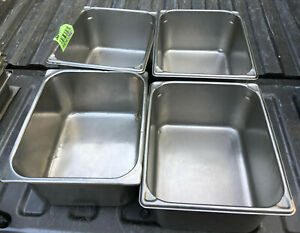 Lot Of 4 Stainless Steel Half Size 6 Deep Steam Table Pans 1 2