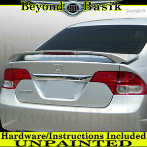 2006 07 08 09 10 2011 Honda Civic 4dr Sedan Trunk Spoiler Wing W led Unpainted