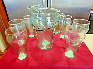 COCA COLA VINTAGE GEORGIA GREEN INDIANA GLASS PEBBLE PATTERN PITCHER & 6 GLASS